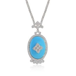 0.75 Ct Diamond Pearl Necklace & Blue Onyx 18K